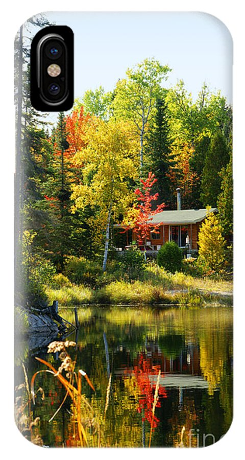 Wood IPhone X Case featuring the photograph Wood Cabin By The Lake by Sylvie Bouchard