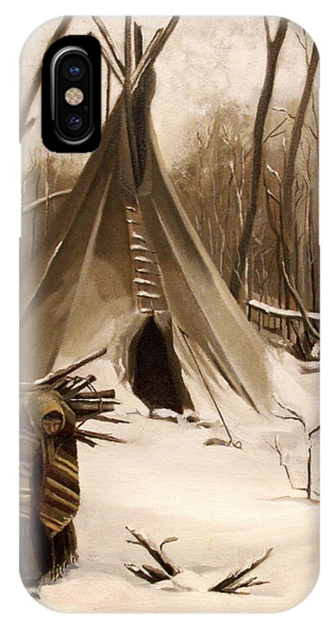 Native American IPhone X Case featuring the painting Wood Gatherer by Nancy Griswold