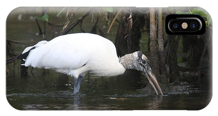 Wood Stork IPhone X Case featuring the photograph Wood Stork In The Swamp by Christiane Schulze Art And Photography