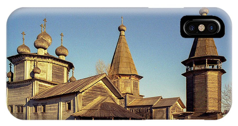 Kargopol IPhone X Case featuring the photograph Wooden Church Complex. Old Film Camera. by Alexander Parusov
