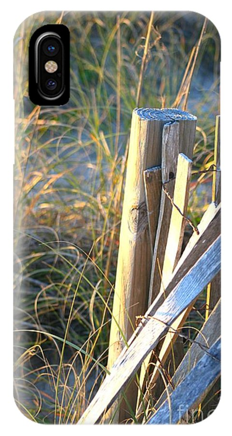Post IPhone Case featuring the photograph Wooden Post And Fence At The Beach by Nadine Rippelmeyer