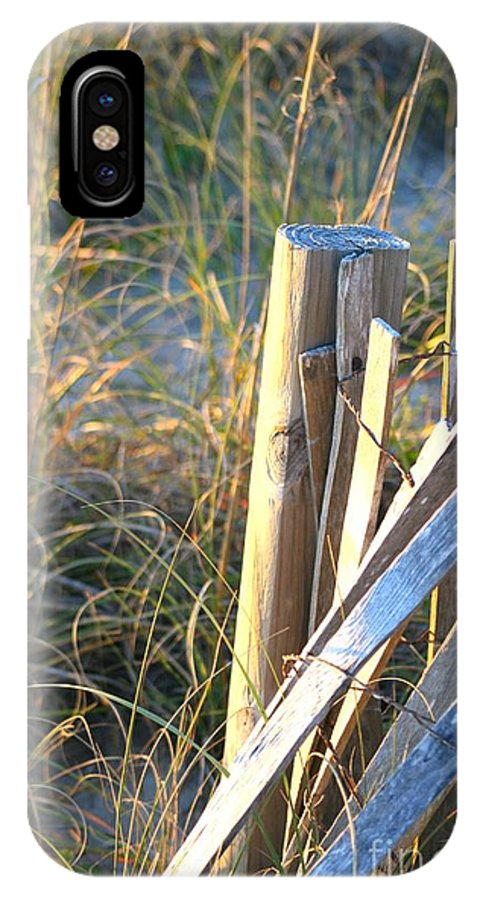 Post IPhone X Case featuring the photograph Wooden Post And Fence At The Beach by Nadine Rippelmeyer