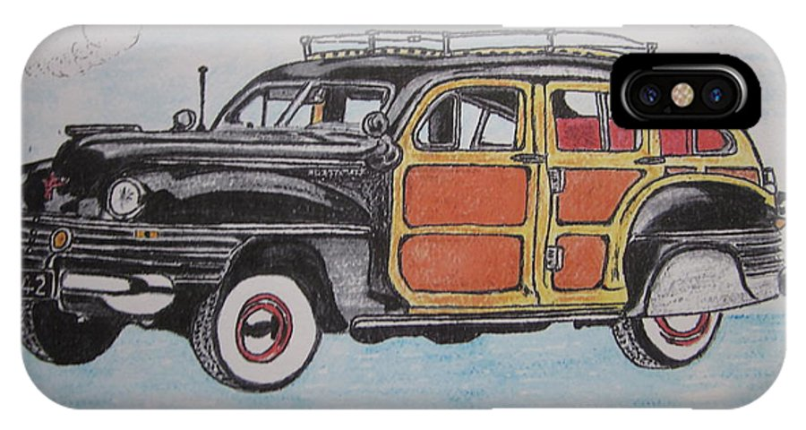 Woodie IPhone X Case featuring the painting Woodie Station Wagon by Kathy Marrs Chandler