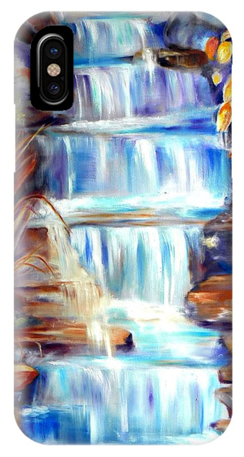 Waterfall IPhone X Case featuring the painting Woodland Oasis by Sandy Ryan