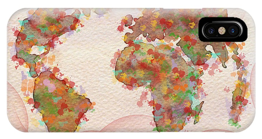 World Map IPhone X Case featuring the painting Word Map Digital Art by Georgeta Blanaru