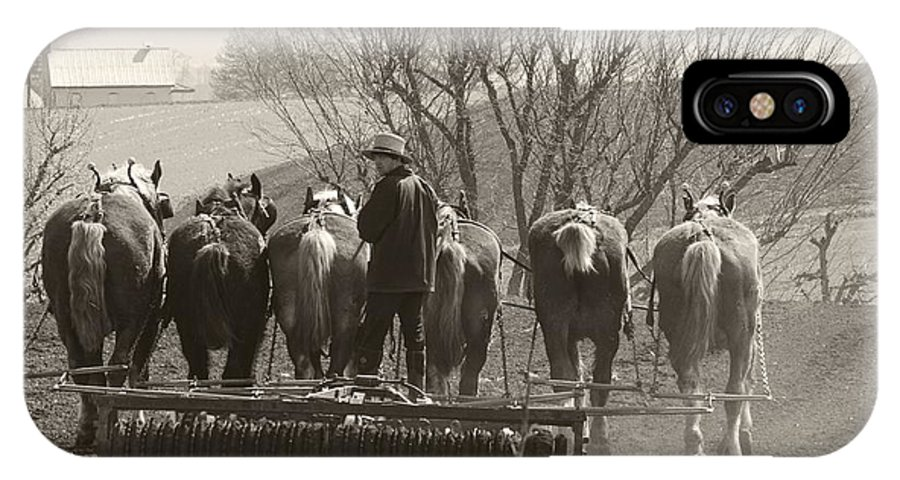 Horses IPhone X Case featuring the photograph Working Team by Alice Gipson