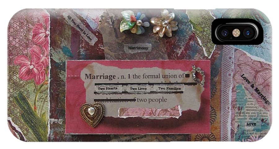 Heart IPhone X Case featuring the mixed media Works Of Heart Matrimony by Anita Burgermeister