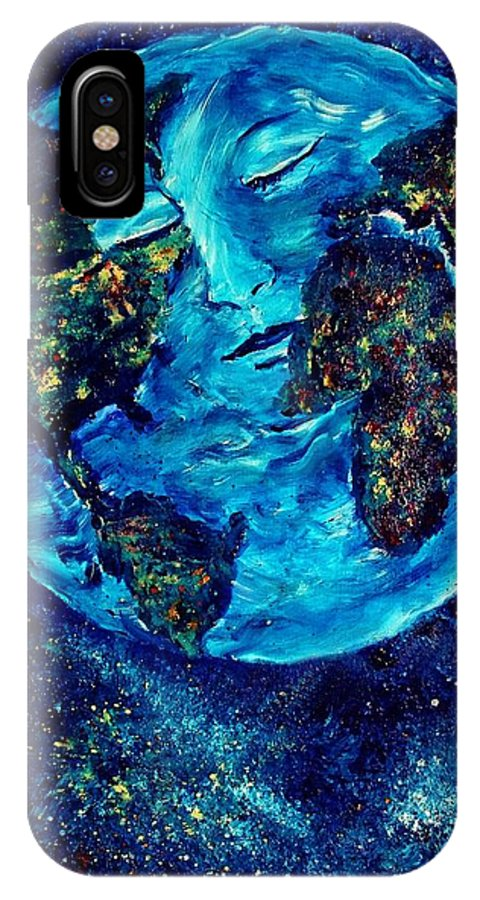World IPhone X Case featuring the painting World Peace by Robin Monroe