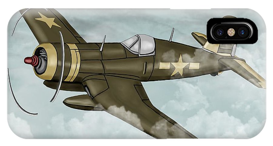 Air IPhone X / XS Case featuring the painting World War 2 Airplane by Karen Sheltrown