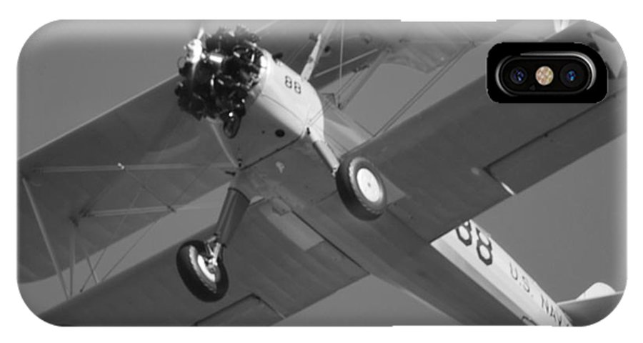 Black And White IPhone X / XS Case featuring the photograph Stearman Trainer Bi Plane Black And White by Thomas Woolworth