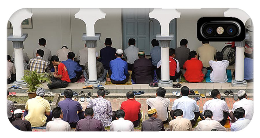 Moslem IPhone X Case featuring the photograph Worshipers At Friday Prayers - Masjid Jame - Friday Mosque - Kuala Lumpur - Malaysia by David Hill