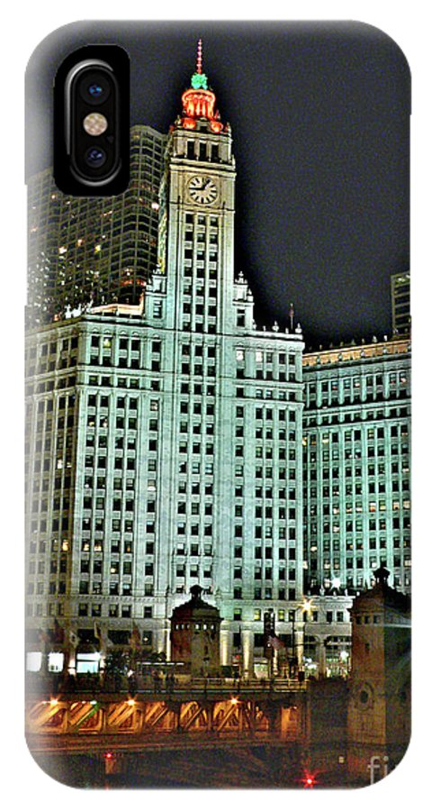 Wrigley Building IPhone X Case featuring the photograph Wrigley At Halloween by David Bearden