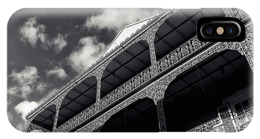Wrought Iron Orleans IPhone X Case featuring the photograph Wrought Iron Orleans Mono by John Rizzuto