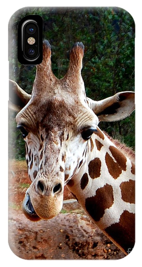 Giraffe IPhone X Case featuring the photograph Wuz Up Dude by Nancy Bradley