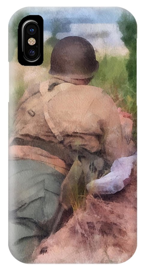 Army IPhone X Case featuring the photograph Ww II Us Army Soldier Photo Art by Thomas Woolworth