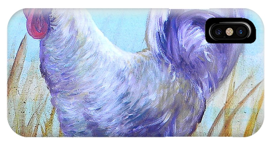 Chicken IPhone X Case featuring the painting Wyandotte Rooster by Judy Bruning