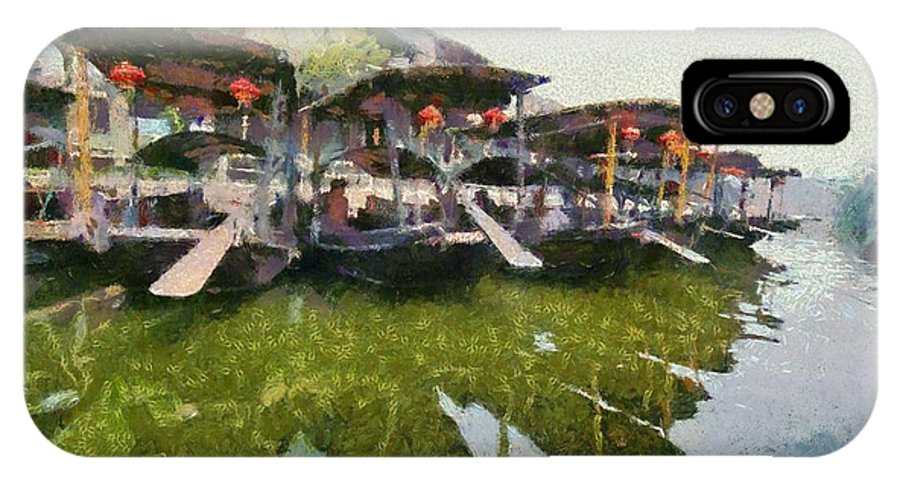 Xi Tang; Town; Village; Water; River; Canal; China; Asia; Painting; Paintings; Paint; Boat; Boats; Gondola; Gondolas; Old; Tradition; Traditional; Chinese; East; Eastern; Ancient; Holidays; Vacation; Travel; Trip; Voyage; Journey; Tourism; Touristic; Reflection; Reflections IPhone X Case featuring the painting Xi Tang Town by George Atsametakis