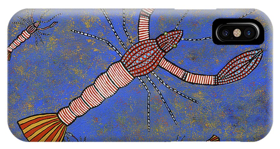 Yabbies IPhone X Case featuring the painting Yabbies by Clifford Madsen