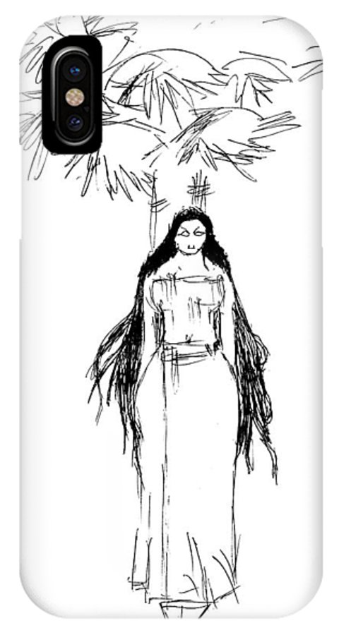Yakshi IPhone X Case featuring the drawing Yakshi14 by Namath Dev