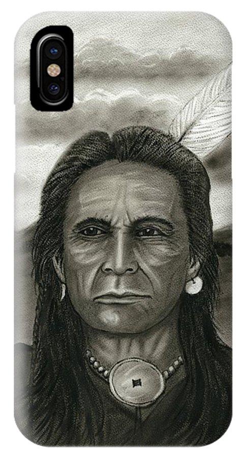 Native American IPhone X Case featuring the painting Yankton Lakota by Ken Decker