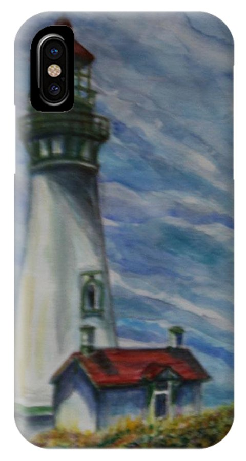 Quin Sweetman IPhone X Case featuring the painting Yaquina Head Lighthouse Original Painting by Quin Sweetman