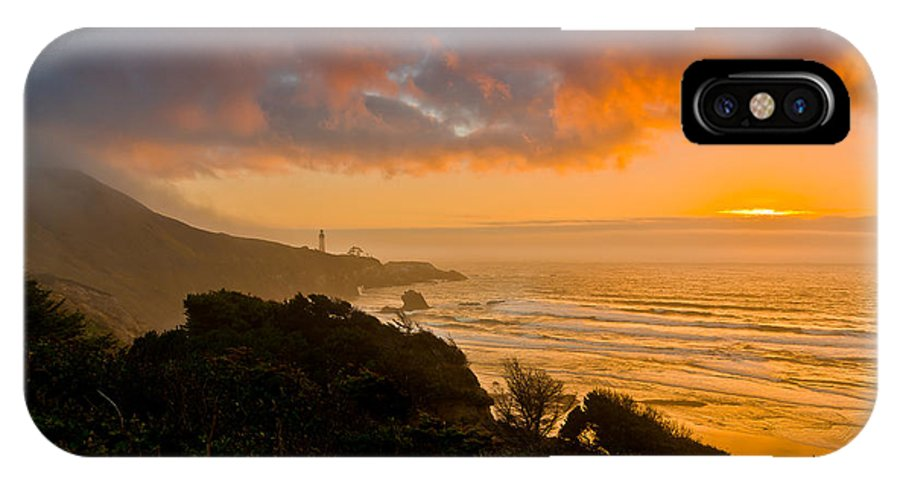Newport Or IPhone X Case featuring the photograph Yaquina Head Lighthouse Sunset. by Ulrich Burkhalter