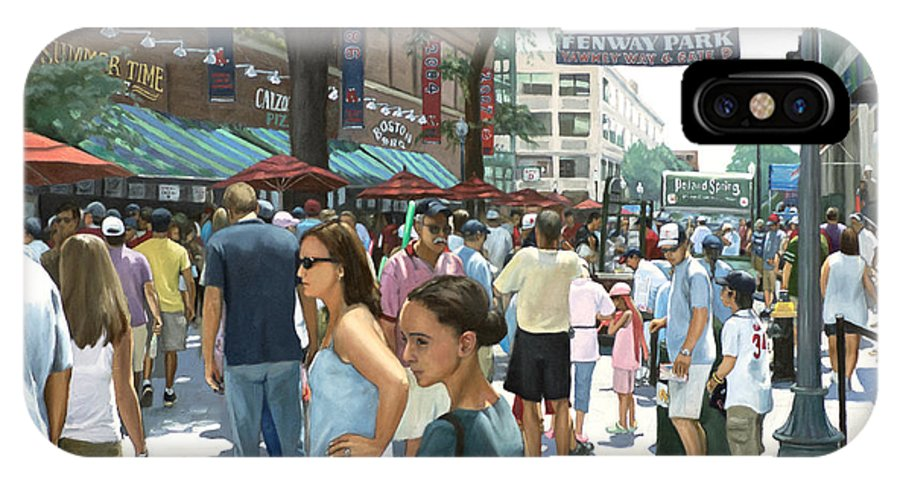Red Sox IPhone X Case featuring the painting Yawkey Way by Linda Tenukas