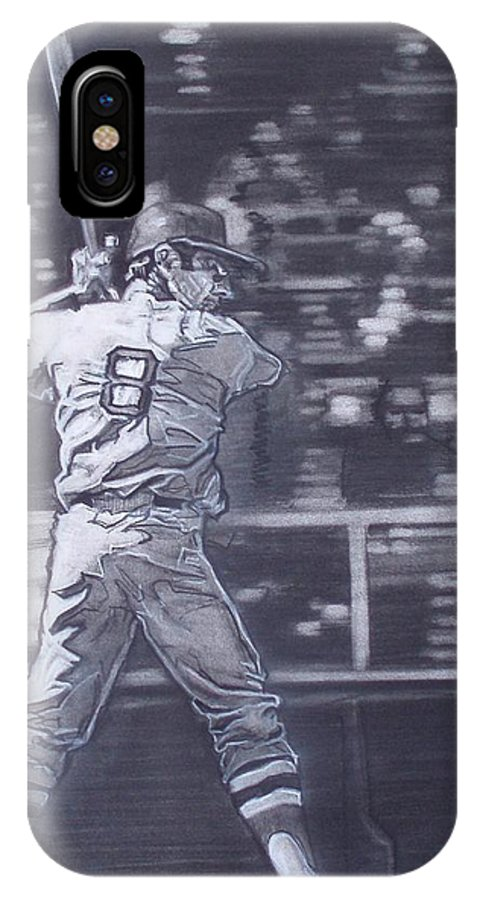 Charcoal IPhone X Case featuring the drawing Yaz - Carl Yastrzemski by Sean Connolly