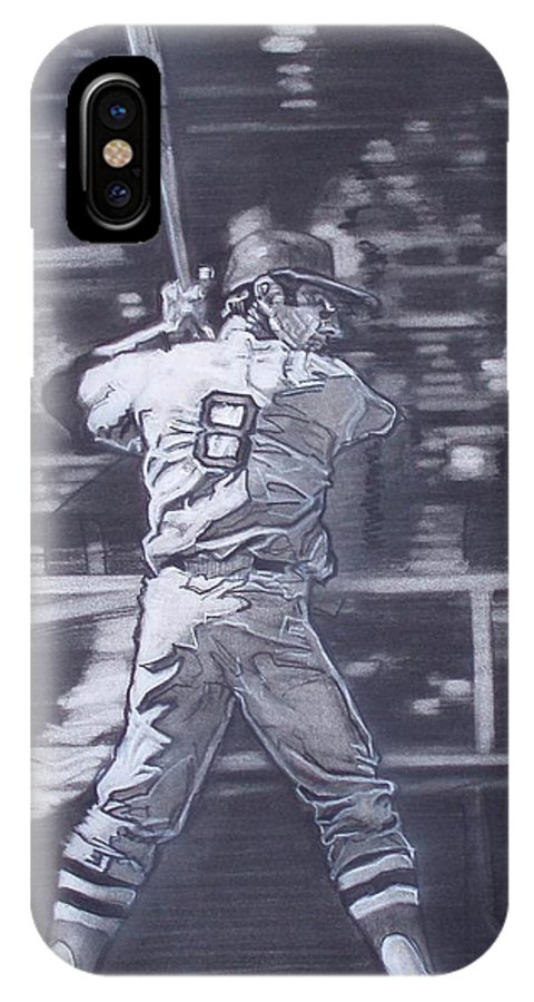 Charcoal On Paper IPhone X Case featuring the drawing Yaz - Carl Yastrzemski by Sean Connolly