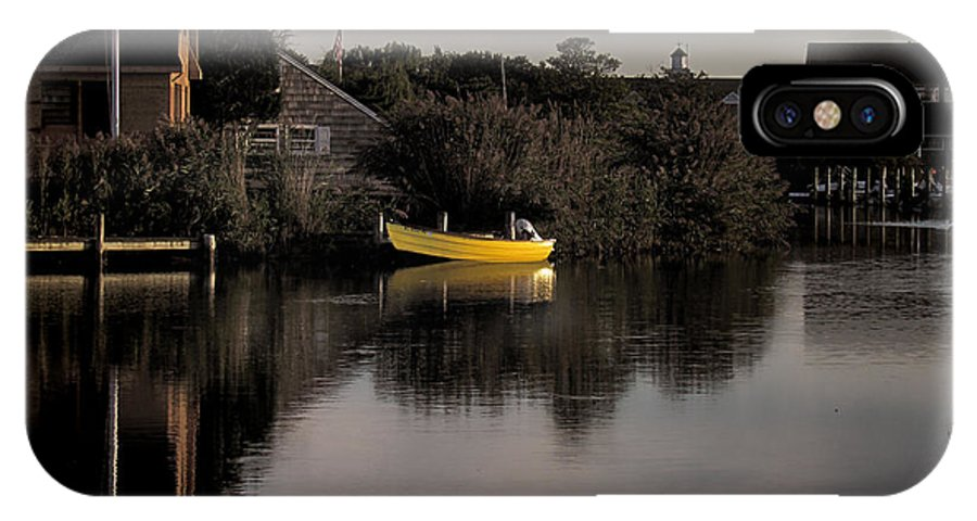 Boat. Bay Head IPhone X Case featuring the photograph Yellow Boat by Doug Bates