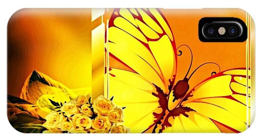 Butterfly IPhone X / XS Case featuring the mixed media Yellow Butterfly by Tracie Howard