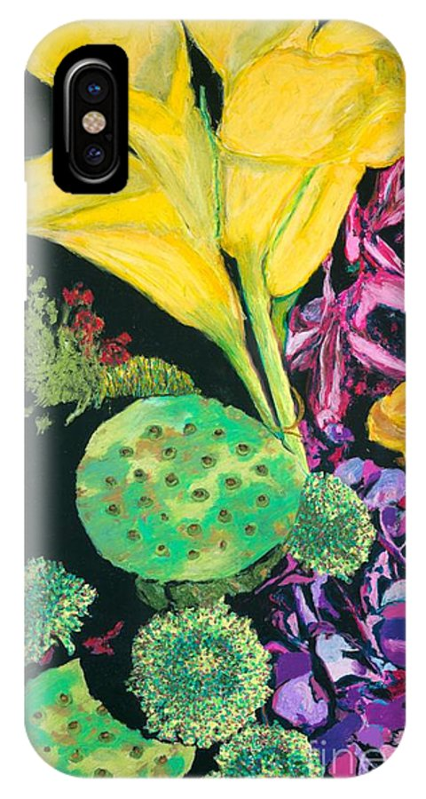 Landscape IPhone X Case featuring the painting Yellow Cala Lilies by Allan P Friedlander