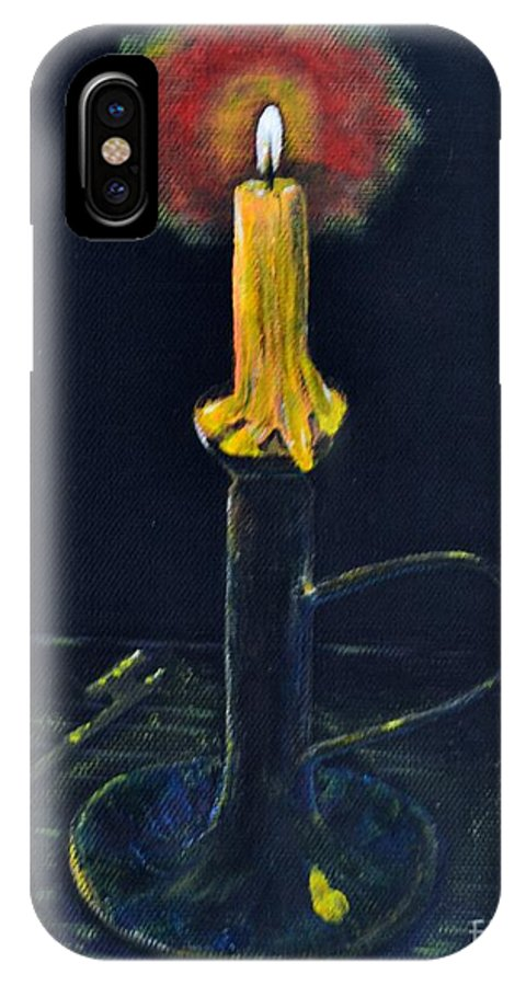 Coin IPhone X Case featuring the painting Yellow Candle by Melvin Turner