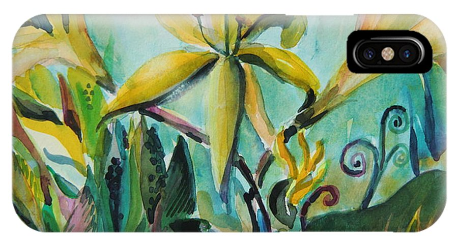 Lily IPhone X Case featuring the painting Yellow Day Lilies by Mindy Newman