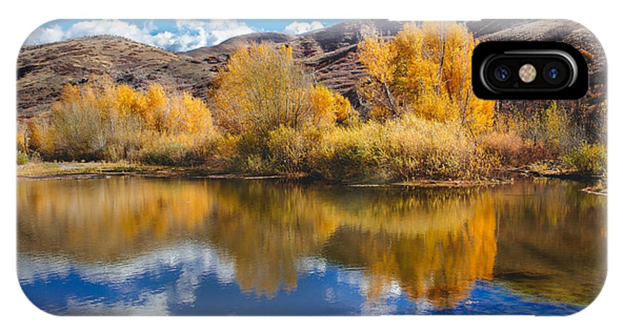 Yellow IPhone X Case featuring the photograph Yellow Fall Reflections by Robert Bales