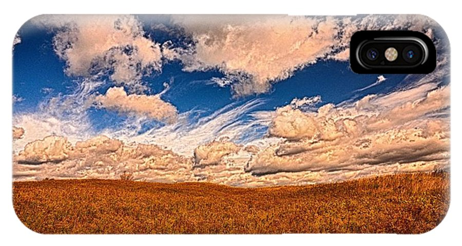 Landscape IPhone X Case featuring the photograph Yellow Field Dramatic Sky by Diana Shuter