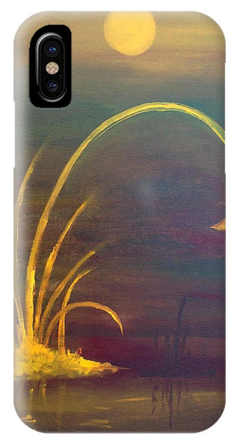 Lake IPhone X Case featuring the painting Yellow Flower by Peter Havelka