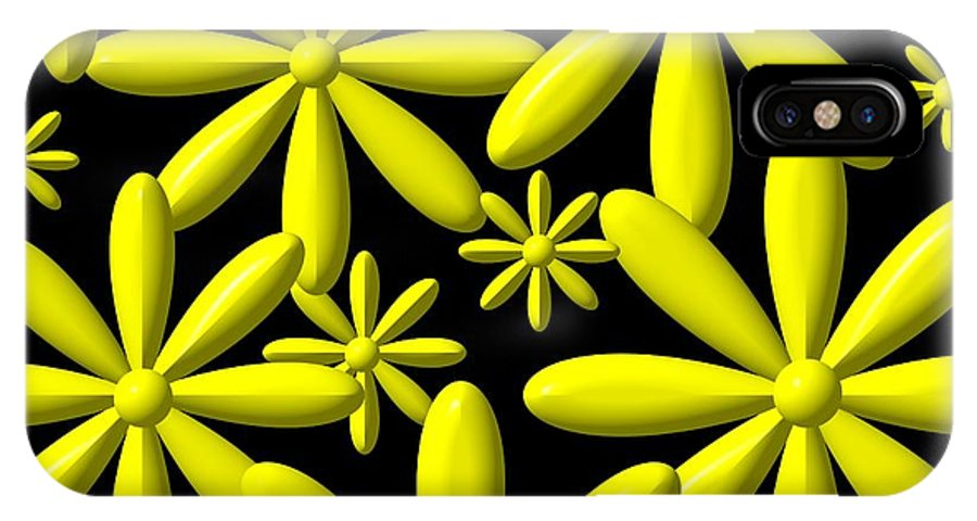Flower Power IPhone X Case featuring the digital art Yellow Flower Power 3d Digital Art by Rose Santuci-Sofranko