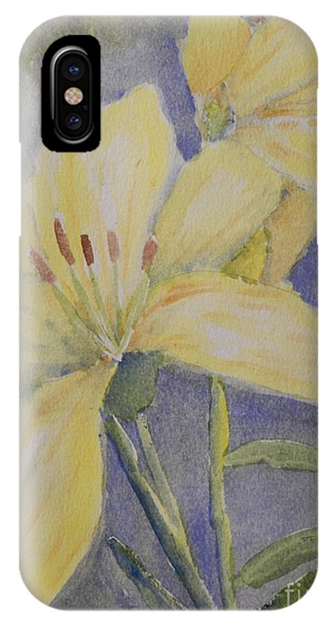 Impressionism IPhone X Case featuring the painting Yellow Flowers by Pamela Meredith