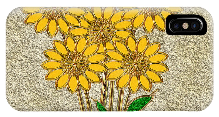 Gold IPhone X Case featuring the digital art Yellow Flowers by Pat Follett
