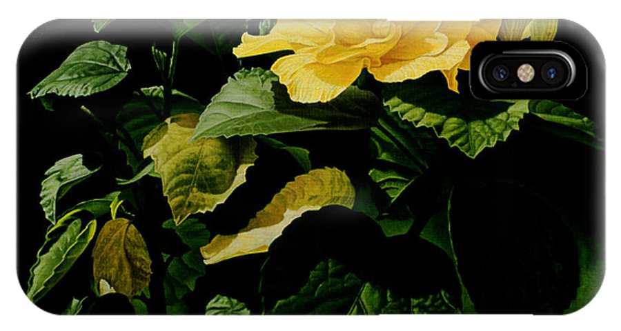 Floral IPhone Case featuring the painting Yellow Hibiscus by Gary Hernandez