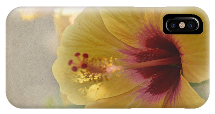 Flower IPhone X Case featuring the photograph Yellow Hibiscus by Peggy Hughes