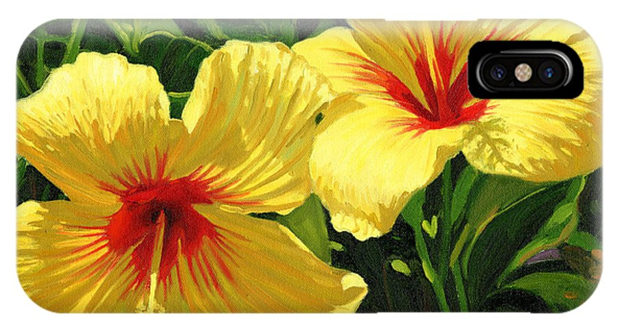 Floral IPhone Case featuring the painting Yellow Hibiscus by Steve Simon
