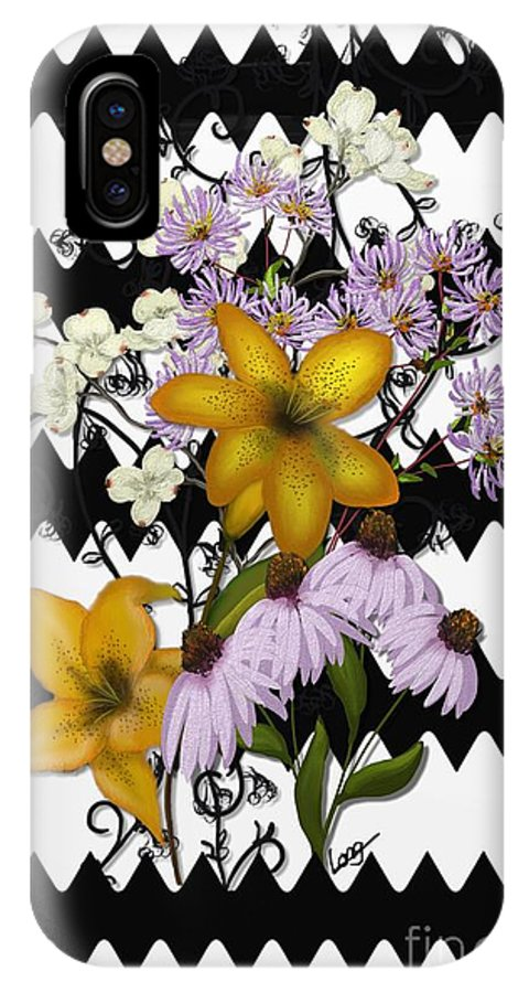 Zigzag IPhone X Case featuring the painting Yellow Lilies On Black And White Zigzag by Nancy Long