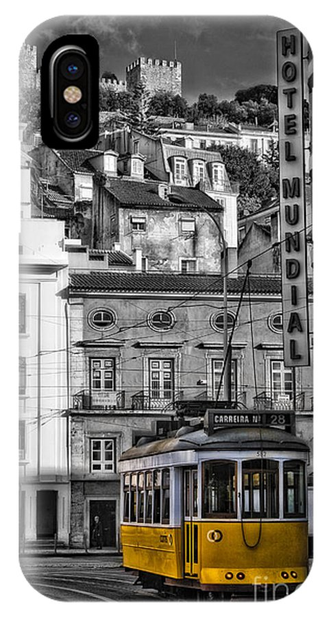 Portugal IPhone X Case featuring the photograph Yellow Lisbon Trolley by Timothy Hacker