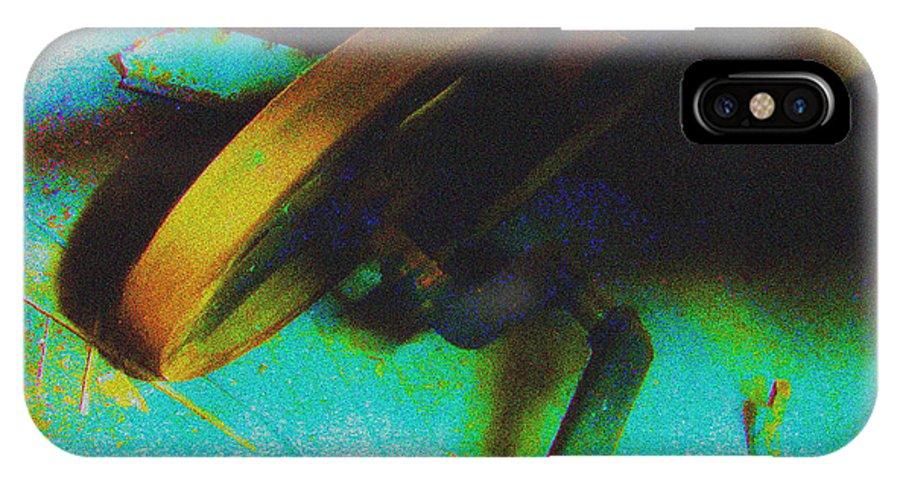 Manhattan Skyline IPhone X Case featuring the drawing Yellow Machine by Mieczyslaw Rudek Mietko