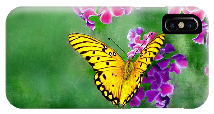 Butterfly IPhone X Case featuring the painting Yellow Monarch Butterfly by Bruce Nutting