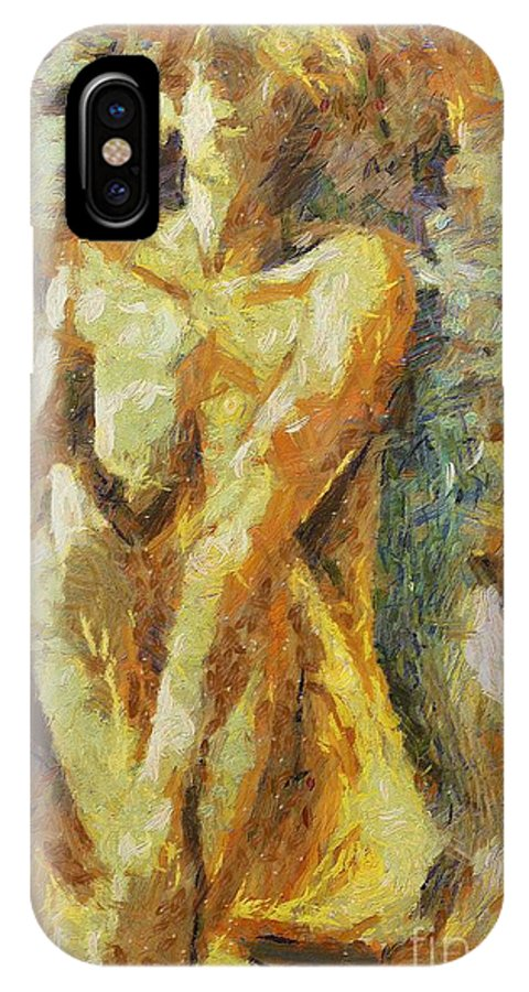 Nude IPhone X Case featuring the painting Yellow Nude by Dragica Micki Fortuna