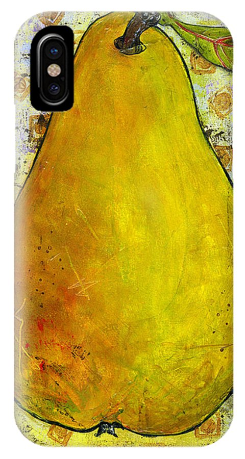 Art IPhone X Case featuring the painting Yellow Pear On Squares by Blenda Studio