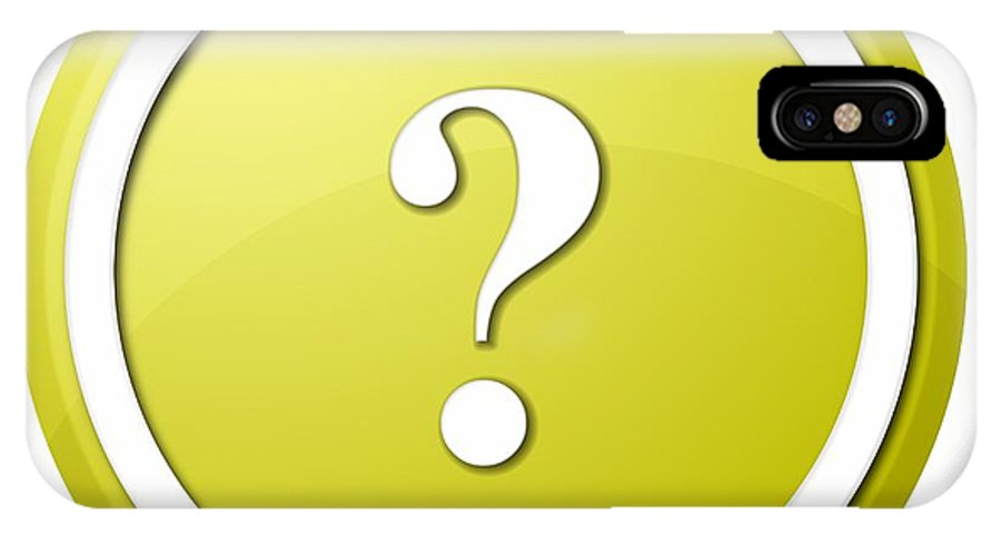 Icon IPhone X Case featuring the digital art Yellow Question Mark Round Button by Henrik Lehnerer
